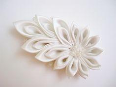 White Kanzashi Clip White Tsumami Kanzashi White Bridal Kanzashi Hair Clip Japanese Hair Clip Comet. $30.00, via Etsy.
