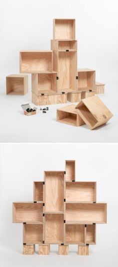 Simple plywood boxes as shelving by EleandMac