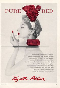 ELIZABETH ARDEN 1950s | Pure Red Lipstick | #vintage #beauty #advertising