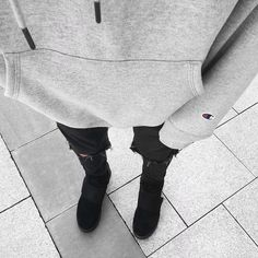 Shades of gray • Instagram: @edriancortes - #outfitfromabove #streetwear #streetstyle #men #blvck #champion #hoodie