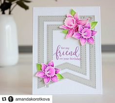Each week we search Instagram for the hashtag #simonsaysstamp and choose a card to feature as our #cardoftheweek! This week we chose this lovely card by Amanda @amandakorotkova  Congrats! Please hashtag your posts, too, so we can all share! We love our crafty customers! #simonsaysstamp #papercrafting #cardmaking #cardoftheweek #kuretakecleancolor #friendshipbloomsstampset