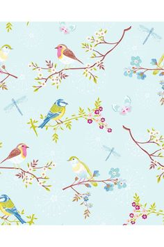Picture of Early Bird wallpaper light blue