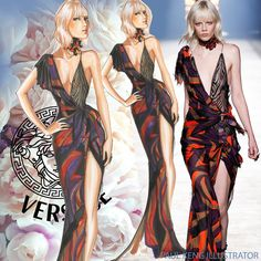 Versace Spring 2016 RTW | Illustration by Paul Keng