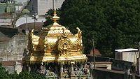 Meenakshi Amman Temple -The golden shrine over the sanctum of Meenakshi.