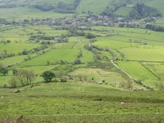 View of Castleton from the ridge path to Mam Tor.