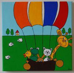 In de luchtballon 30x30 cm
