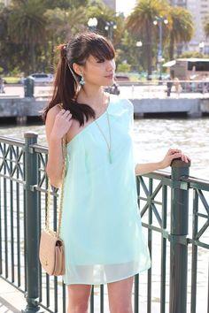 Mint flavoured one shoulder dress.