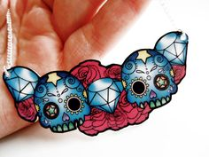 Day Of The Dead Skull/Diamond/Rose Tattoo | HouseOfWonderland  #necklace