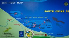 Map of dive sites off the coast of Miri, Sarawak (Malaysia). The wreck sites are…