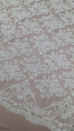 Snow white lace fabric, French Lace, Embroidered lace, Wedding Lace, Bridal lace, White Lace, Veil lace, Lingerie Lace Alencon Lace
