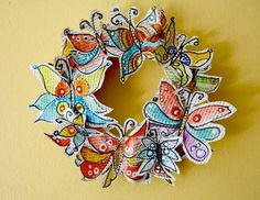 Spring is the perfect season to go green, so make a few recycled crafts this season. Try making yourself a pretty Recycled Butterfly Wreath.