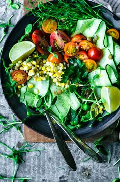 This summery vegan Mexican lentil salad is filled with green lentils tomatoes cucumber corn and cilantro topped with a zesty lime vinaigrette. Healthy Bowl, Healthy Salad Recipes, Real Food Recipes, Vegetarian Recipes, Cooking Recipes, Vegan Soups, Chili Recipes, Healthy Meals, Healthy Eating