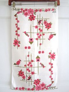 Vintage Linen Towel Pink Birds and Bird House by NeatoKeen on Etsy, $32.00