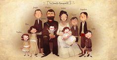 illustration, figure, man, woman, child, boy, girl, front, standing. sitting, mother, baby, family portrait. typography. Aurélie Neyret.