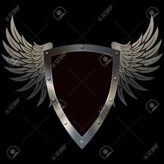 14792431-heraldic-riveted-shield-with-wings-on-a-black-background.jpg (1300×1300)