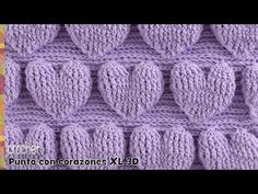 Punto de corazones extra grandes en relieve tejido a crochet / Tejiendo Perú - Crochet Motifs, Crochet Stitches Patterns, Knitting Stitches, Stitch Patterns, Knitting Patterns, Crochet Cable, Tunisian Crochet, Love Crochet, Easy Crochet