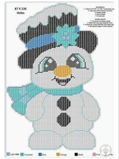 Plastic Canvas Ornaments, Plastic Canvas Crafts, Plastic Canvas Patterns, Needlepoint Patterns, Cross Stitch Patterns, Christmas Wall Hangings, Plastic Canvas Christmas, Canvas Designs, Snowman Crafts