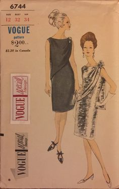 Rare Vintage 6744 Vogue (1967)  Vogue Special Design  Size 12 Bust 32 Note: Todays size 12 pattern has a 34 bust  Evening dress. Sleeveless, semi-fitted dress has draped panel and scooped neckline. Pattern is complete with instructions and the Vogue Special Design label. It is unused and factory