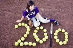 Softball Player Poses for Senior Photo