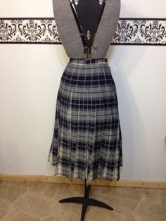 1960's Blue and Cream Plaid Pleated Skirt by by RetrosaurusRex