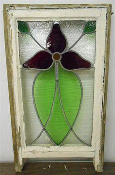 """EDWARDIAN ENGLISH LEADED STAINED GLASS  SASH WINDOW Pretty Flower 13.75""""x21.75"""""""