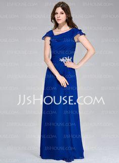A-Line Princess Floor-Length Appliques Lace Cascading Ruffles Zipper Up Cap  Straps Sleeveless Royal Blue Fall General Plus Chiffon Evening Dress 9527b9d46fd6