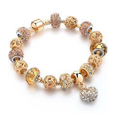 Luxury Crystal Heart Charm Bracelets & Bangles Gold Bracelets For Women Jewelry Pulseira Feminina Gold Plated Bracelets, Crystal Bracelets, Gold Bangles, Bangle Bracelets, Crystal Ring, Pandora Bracelets, Gold Rings, Gold Bracelet For Women, Personalized Bracelets