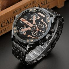 Buy Hot Men Fashion Military Sport Wristwatch Big Dial Double Time Display Quartz Watch Stainless Steel Band Gold Watch at Wish - Shopping Made Fun Cheap Watches For Men, Luxury Watches For Men, Mens Silver Jewelry, Silver Pocket Watch, Brighton Jewelry, Pandora Jewelry, Men's Jewelry, Luxury Jewelry, Jewelry Trends