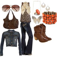 """""""brown and coral"""" by country-sis on Polyvore"""