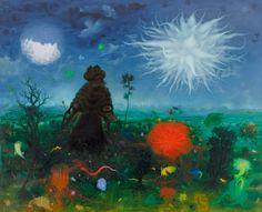 'The Rainmaker of Mount Carmel', Vienna Arik Brauer Crayon Painting, Figure Painting, Rudolf Hausner, The Rainmaker, Gustav Klimt, Fantastic Art, Painting Inspiration, Vienna, Surrealism