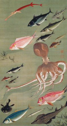 """Fish"" from ""Colorful Realm of Living Beings"" group of Japanese hanging scrolls by Itō Jakuchū, c. 1765-66 (Edo Period)."