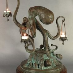 Funny pictures about Octopus Candle Holder. Oh, and cool pics about Octopus Candle Holder. Also, Octopus Candle Holder photos. Octopus Lamp, Gothic House, Victorian Gothic, Home And Deco, My New Room, Candle Holders, Candle Stand, Table Lamp, Dining Table