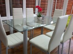 STUNNING GLASS DINING TABLE SET AND WITH 6 FAUX LEATHER CHAIRS WHITE BLACK NEW | eBay