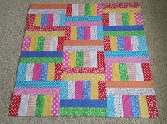 Charm Box baby quilt, a free pattern from the Fat Quarter Shop. Baby Boy Quilt Patterns, Patchwork Quilt Patterns, Lap Quilts, Baby Girl Quilts, Strip Quilts, Patch Quilt, Quilt Patterns Free, Small Quilts, Free Pattern