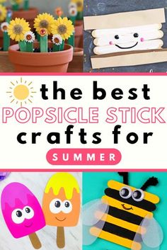 Scroll through and click for the tutorials on the best popsicle stick crafts for kids to make for summer. #kidscrafts #summercrafts #popsiclestickcrafts #family #summerfun #craftsforkids #simplecrafts #woodcrafts #stickcrafts