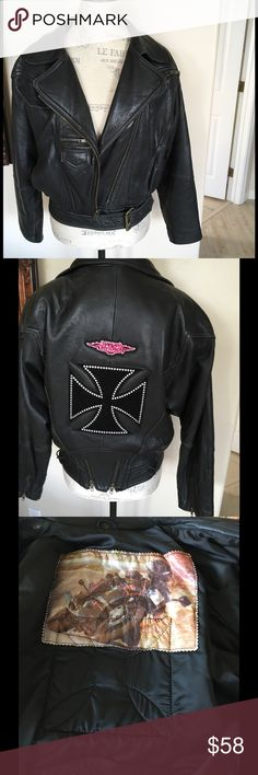 Leather Moto Jacket In good used condition softest leather black. Slightly padded. Has patches on back had those put on when I was doing the Motor cycle thing. Has buckle on bottom. Purchased at Nordstrom. Fox Run Jackets & Coats