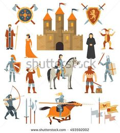 Medieval isolated decorative icons set of knightly castle crusader flags emblems knights on horseback with ancient weapon flat vector illustration