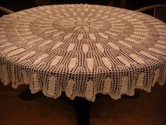 Round 72 White Crocheted Tablecloth by JoRetro on Etsy, $120.00