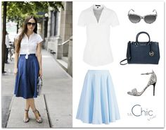 fot. lookastic.com; white shirt Esprit Collection, skirt mint&berry, sandals Buffalo, bag Michael Kors, sunglasses Dolce&Gabbana
