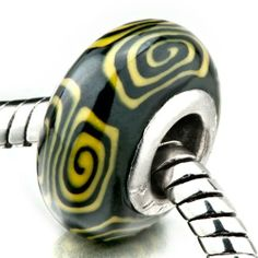 Pugster Yellow Black Whirlpool Beads Fits Pandora Charm Bracelet Pugster. $6.49. Weight (gram): 1.3. Size (mm): 9.06*14.66*14.66. Metal: ploymer clay. Color: yellow,black