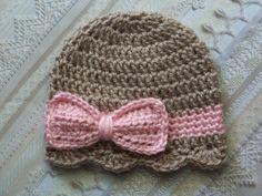 Crochet Baby Hat, Newborn Baby Girl hat, Baby Girl Bow Hat, Infant Bow Hat,Newborn Baby Bow Hat, Taupe, Pink, Gift on Etsy, $14.00