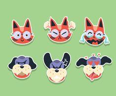 Cat And Dog Stickers Vector Art & Graphics | freevector.com Vector Library, Types Of Cats, Vector Art, Stationary, Pikachu, Original Artwork, Dog Cat, Clip Art, Graphics