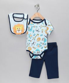 Take a look at this Blue Lion Pants Set by Little by Little on #zulily today#fall