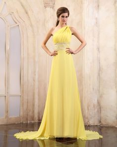 osell wholesale dropship Chiffon Beading Pleated One Shoulder Chapel Train Evening Prom Dresses $89.13