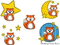 Gute Nacht Fuchs Rene! ♥ Doodle Stickdateien Set mit Fuchs Rene, Mond und Sternen. So cute! Good night little fox ♥ Fox with stars and moon. Doodle appliqué embroidery file for embroidery machines.