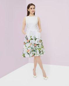 http://www.tedbaker.com/us/Womens/Clothing/Dresses/KAROLIE-Secret-Trellis-print-dress-Cream/p/125232-97-CREAM