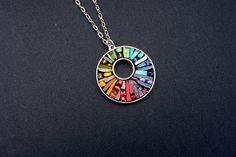 Rainbow Chakra Glowing Glass Micro Mosaic Artisan Pendant