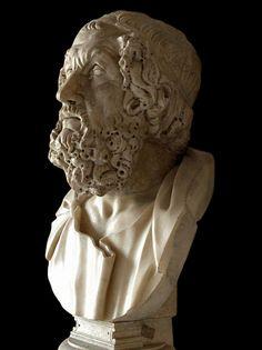 Homer - semi-profile, Roman bust (marble), copy after Hellenistic original, ? (original 2nd c. BC), (Palazzo Nuovo, Rome).