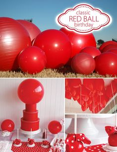 A classic red ball party. I can't WAIT to throw a party like this! Red Birthday Party, Ball Birthday Parties, Red Party, Girl Birthday, Birthday Ideas, 11th Birthday, Birthday Cakes, Wipeout Party, Period Party