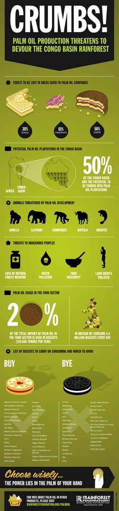 The use of palm oil in the biscuit industry.